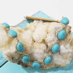 NWT Monet Faux Turquoise and Gold Necklace D5
